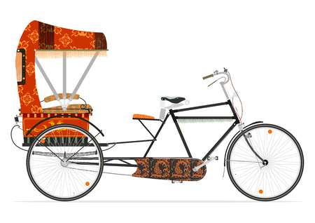 Cartoon Indian rickshaw on a white background. Flat vector