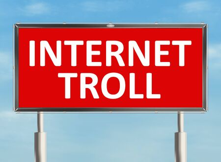 trolling: Internet troll. Billboard on the sky background. Raster illustration. Stock Photo