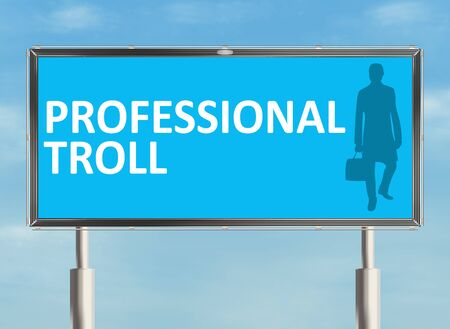 troll: Internet troll. Billboard on the sky background. Raster illustration. Stock Photo