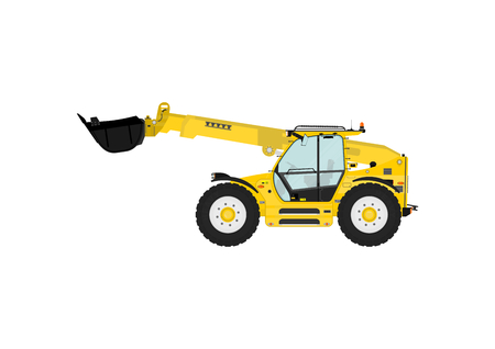 telescopic: Telescopic handler on a white background. Flat vector