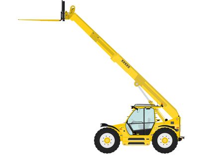handler: Telescopic handler equipped with fork on a white background. Side view. Flat vector