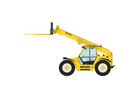 telescopic: Telescopic handler equipped with fork on a white background. Side view. Flat vector
