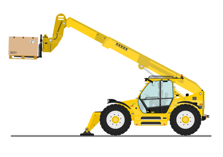 Non rotating telehandler with forks and outriggers on a white background. Flat vector 일러스트