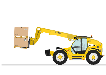 Non rotating telehandler with forks and outriggers on a white background. Flat vector Ilustrace