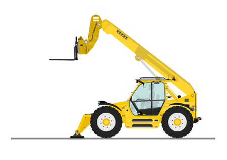 Non rotating telehandler with forks and outriggers on a white background. Flat vector Illustration