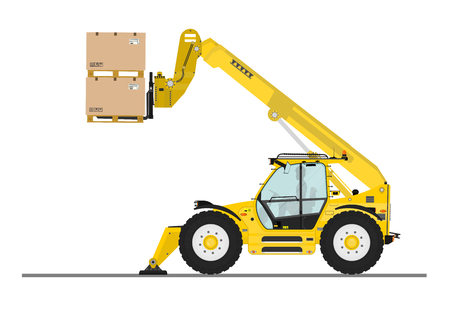 fork lifts trucks: Non rotating telehandler with forks and outriggers on a white background. Flat vector Illustration