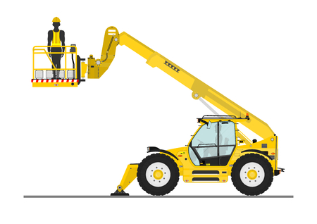 Non rotating telehandler with bucket on a white background. Flat vector