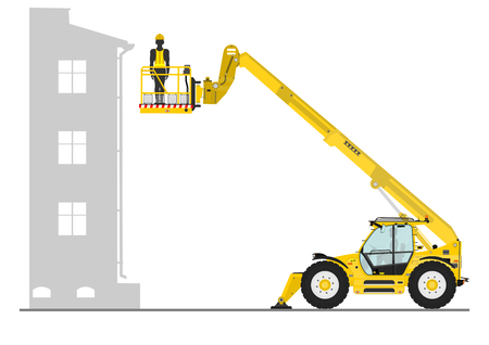 hydraulic platform: Non rotating telehandler with bucket on a white background. Flat vector