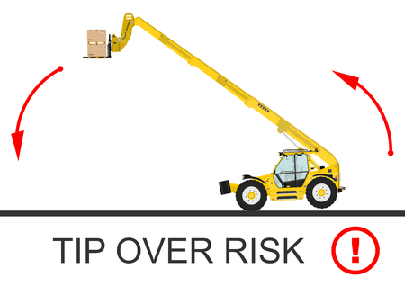 tractor warning: Tip over risk. Non rotating telescopic handler (forklift) on a white background. Flat vector