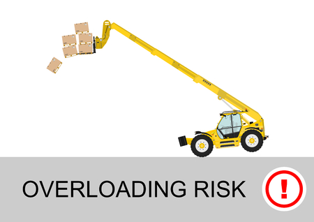 yellow tractors: Tip over risk. Non rotating telescopic handler (forklift) on a white background. Flat vector