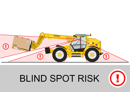 死角の危険性。非伸縮ハンドラー (フォーク リフト) 安全を回転します。平面ベクトル