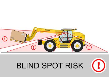 Blind spot risk. Non rotating telescopic handler (forklift) safety. Flat vector