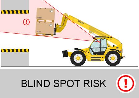 telescopic: Blind spot risk. Non rotating telescopic handler (forklift) safety. Flat vector