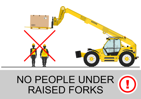 dangerous construction: Telehandler safety. No people under raised forks. Flat vector
