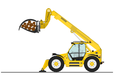 handler: Telescopic handler with log and pipe grapple on a white background. Flat vector