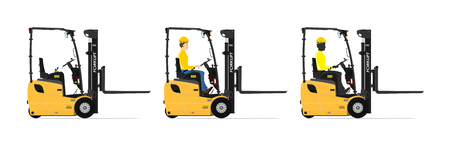 Three wheel electric counterbalance forklift on a white background. Set with the driver and without. Flat vector