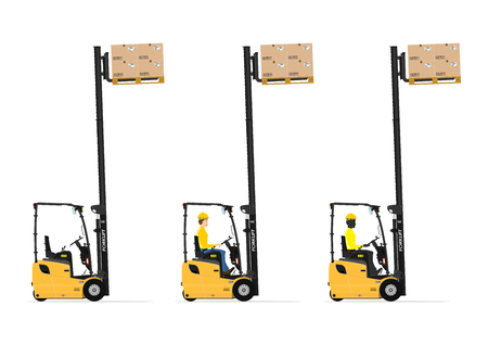 counterbalance: Three wheel electric counterbalance forklift on a white background. Set with the driver and without. Flat vector