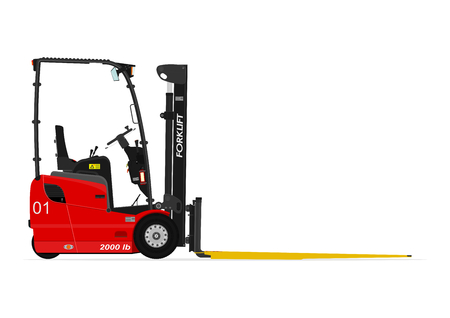 counterbalance: Red three wheel electric counterbalance forklift without an operator on a white background. Flat vector