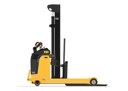 reach truck: Electric reach stacker forklift on a white background. Flat vector