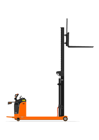 Electric reach stacker forklift on a white background. Flat vector