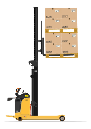 reach: Electric reach stacker forklift on a white background. Flat vector