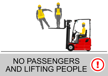 fork lifts trucks: Counterbalance forklift truck lifting people on its fork. Flat vector Illustration