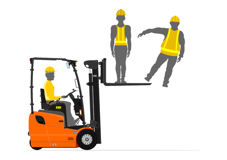 counterbalance: Counterbalance forklift truck lifting people on its fork. Flat vector Illustration