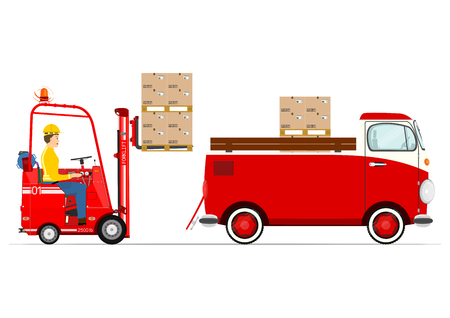 Forklift and van in a retro style on a white background
