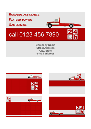 roadside assistance: Business card vector template flat. Roadside assistance and towing in silver and red colors. Illustration