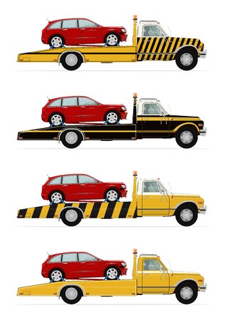 wrecker: Set of four tow truck carrying the car. Side view. Flat vector. Illustration