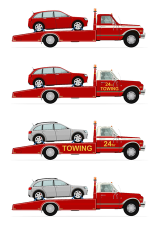 Set of four tow truck carrying the car. Side view. Flat vector. Ilustracja