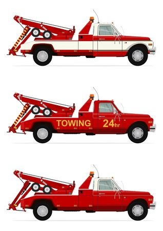wrecker: Side view of tow truck. Flat . Illustration