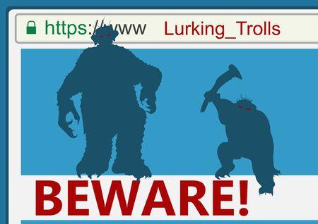 shaming: Troll lurking. Flat vector. Illustration