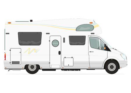 flat: Camper. Side view. Flat vector. Illustration