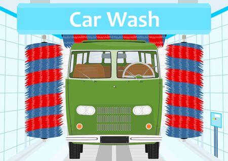 flat: Car wash. Flat vector.