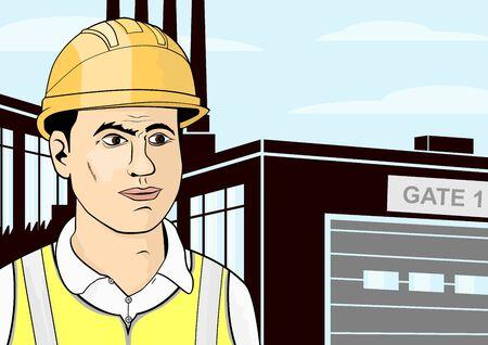 ヘルメットと高い視認性ベスト エンジニア リングします。フラットのベクトル。