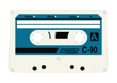 play date: Retro audio cassette with label isolated on white background. Flat vector.