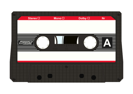 Black retro audio cassette with label isolated on white background. Flat vector. Illustration