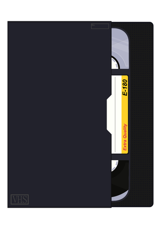 Black retro video cassette with box and place for any text. Flat vector. 向量圖像