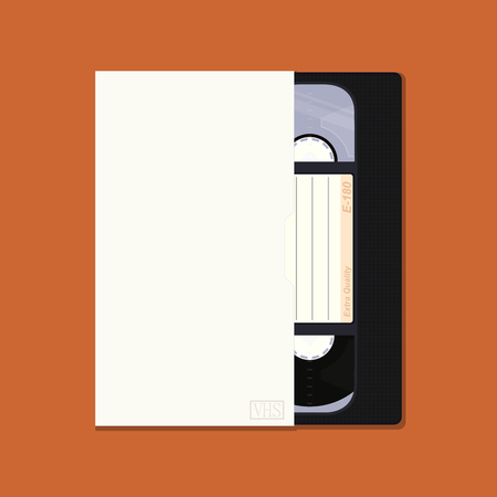 Black retro video cassette with box and place for any text. Flat vector. Vettoriali