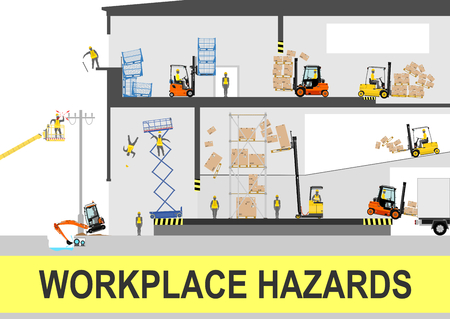 Health and safety hazards. Vector flat. Vettoriali