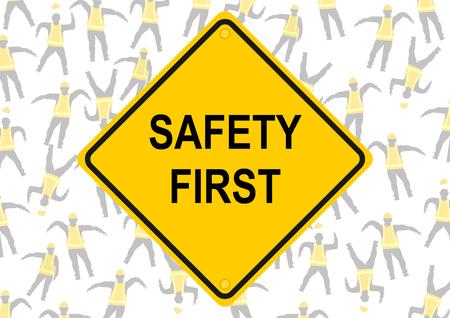 安全最初。黄色のベストで文字の背景。ベクトルはフラット。