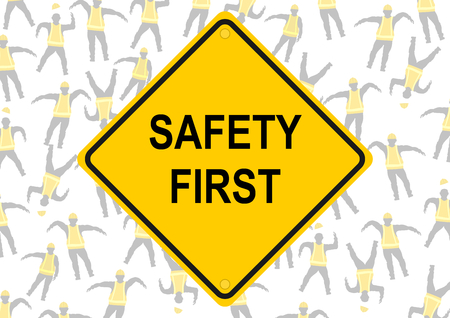 dangerous work: Safety first. Background of characters in yellow vests. Vector flat.