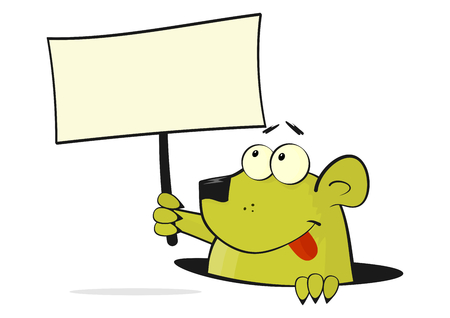 small articles: Cartoon rodent keeping its head protruded out of the burrow. Vector flat.