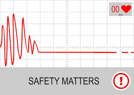 Safety matters. Illustration with cardiogram pattern. Vector flat. Vettoriali