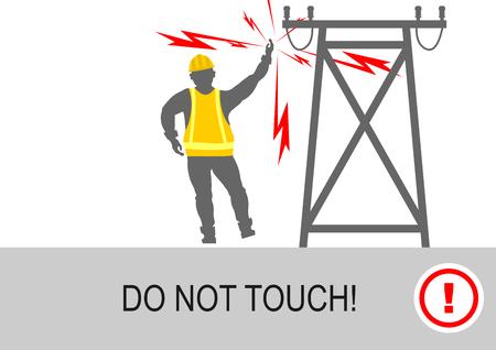 And high voltage electrical hazards. Vector flat. Reklamní fotografie - 76303918