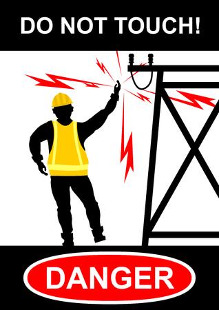 Y los peligros eléctricos de alto voltaje. Vector plana. Foto de archivo - 76303917