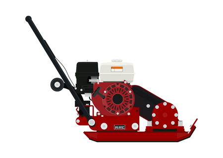 vibrating: Plate compactor. Side view. Vector flat.