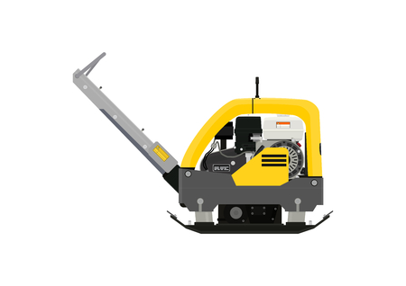 Plate compactor. Side view. Vector flat.
