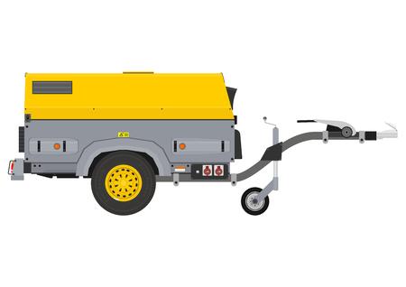 Generador móvil. Vista lateral. Vector plano. Ilustración de vector
